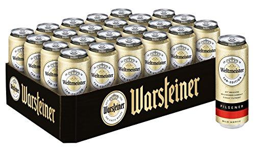Warsteiner Premium Pilsener 24 x 0,5 Liter Dosenbier Weltmeister Fan-Edition/Internationales Bier nach deutschem Reinheitsgebot/Palette Bier auch im Spar-Abo erhältlich (Tropfen X 2 2)