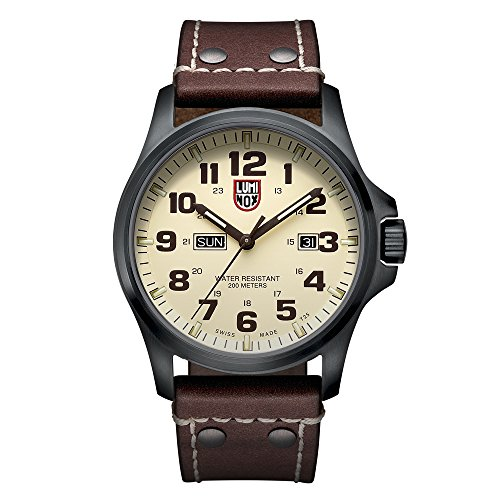 Luminox Atacama Field Day Date Men's Quartz watch with Beige dial featuring LLT Luminox light Technology 45 millimeters Stainless Steel case and Brown Leather Strap  XL.1927