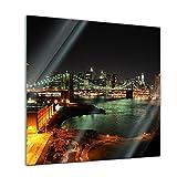 Glasbild - New York Skyline bei Nacht - 20 x 20 cm - Deko Glas - Wandbild aus Glas - Bild auf Glas - Moderne Glasbilder - Glasfoto - Echtglas - kein Acryl - Handmade