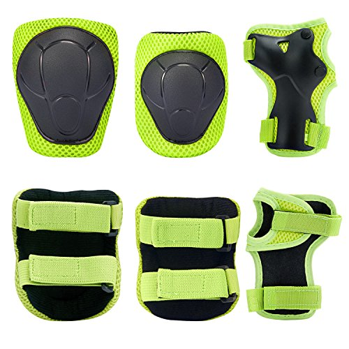 Kids Knee Pads Set,KUYOU 6 in 1 Kit Protective Gear Knee Elbow Pads with Adjustable Wrist Guards Toddler Children Protection Safety for Rollerblading BMX Bike Bicycle Skateboard Hoverboard Outdoor Activities
