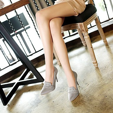 LFNLYX Frauen Fersen Sommer Fall Club Schuhe Pferd Haar Hochzeit Outdoor Büro & Karriere Party & Abendkleid Casual Stiletto Ferse Rhinestone Gray