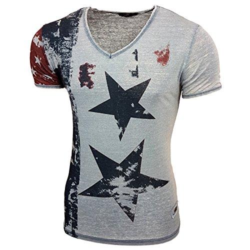 Rusty Neal Neu Herren V-Neck T-Shirt Kurzarm Hemd Slim Fit Design Fashion 6706-Y Petrol
