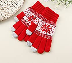 New Akira Knitting Gloves for Women Snow Pattern Thickened Velvet Knitting Gloves (Red)