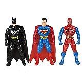 Toysale Spider Man Superman Batman Super Hero Figures (Multicolour)- Pack of 3