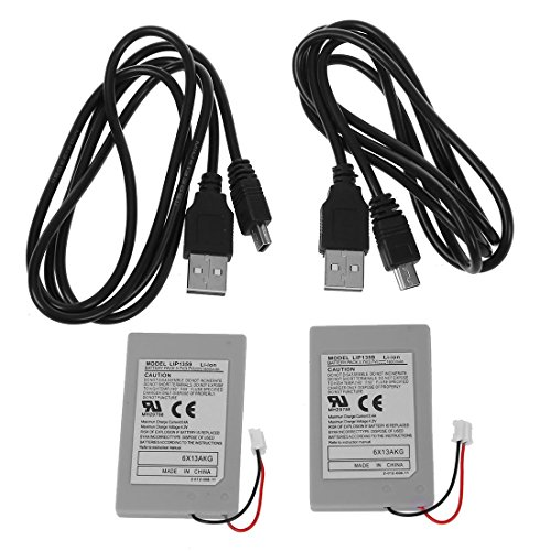 Batterie - SODIAL(R)2 x Ersatz Akku fuer Sony PS3 Kontroller + USB Ladekabel