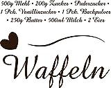 GRAZDesign 300024_50_WT080 Wandtattoo Küche Rezept Waffeln Herzen Zutaten Linie Küchentattoo/Deko für Küchenwand (63x50cm//080 Braun)