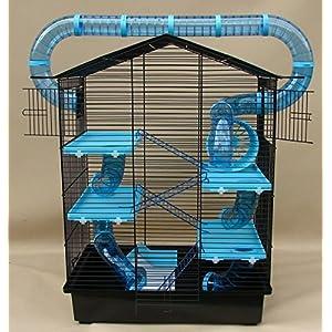 Super Hamsterkäfig, Hamsterburg Nagerkäfig, Käfig CH3 Plus in blau