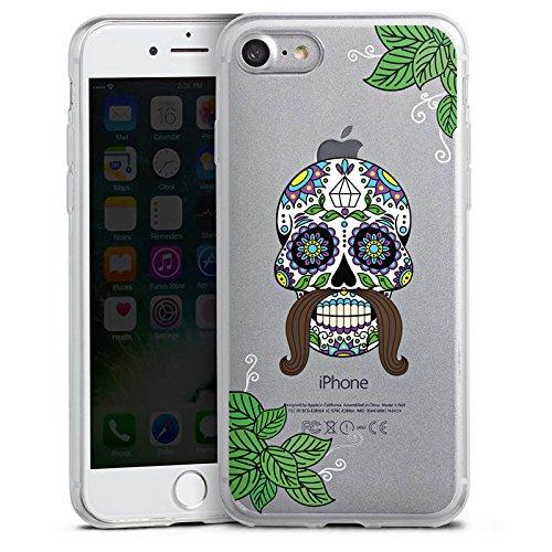 Apple iPhone 7 Slim Case Silikon Hülle Schutzhülle Männer Totenkopf Tattoos Schädel Silikon Slim Case transparent
