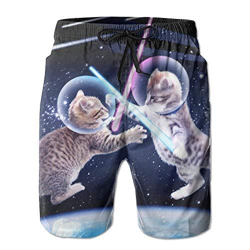 Fashion Men's Beach Pants Beach Shorts Starry Sky Cat Men's Surfing Swim Trunks,M -