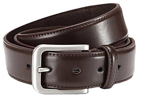 GIL-Design Cintura Elegante Uomo in Pelle, Larghezza: 3,5cm - Marrone, 115cm