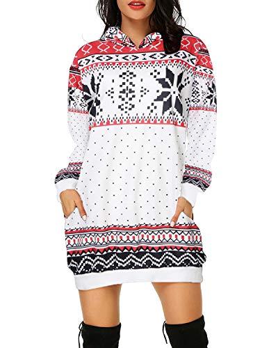 Auxo Damen Pullover Weihnachts Hoodies Kleid Langarm Sweatshirt Kapuzenpullover Weihnachtspullover Weiße Raute Small