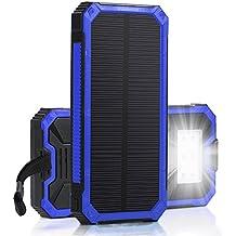 Cargador Solar Power bank 15000mAh GrandBeing Batería Externa Impermeable con Panel Solar (Dual Salida USB 5V 1A & 5V 2A, Entrada Micro USB 5V 2A), Cargador de Emergencia Outdoor con Linterna LED Súper Brillante Para iPhone 6S 6 Plus 5S 5C 5se iPad Air Samsung Galaxy S7 Edge S6 (Azul)