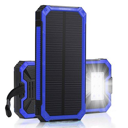 15000mah caricabatterie solare portatile per smartphone con 2 porte usb 5v 1a/2a, power bank solare miglior con luce led/ indicatori/ protezioni di sicurezza per iphone,ipad, samsung, tablet, speaker bluetooth, lg, huawei