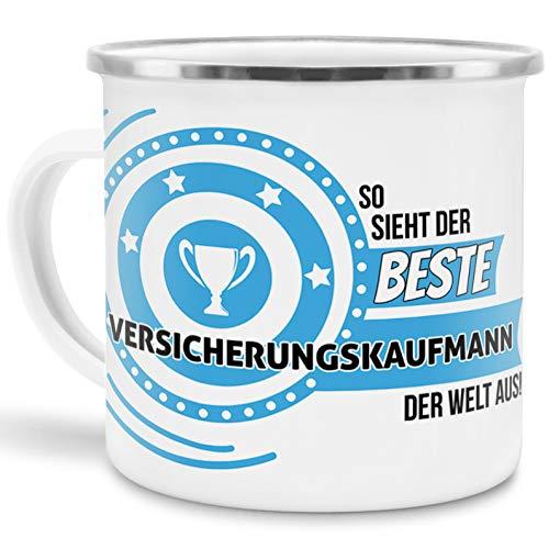Emaille-Tasse mit SpruchSo Sieht der Beste Versicherungskaufmann der Welt aus - Beruf/Arbeit / Hobby/Edelstahl-Becher/Metall-Tasse/Kollege