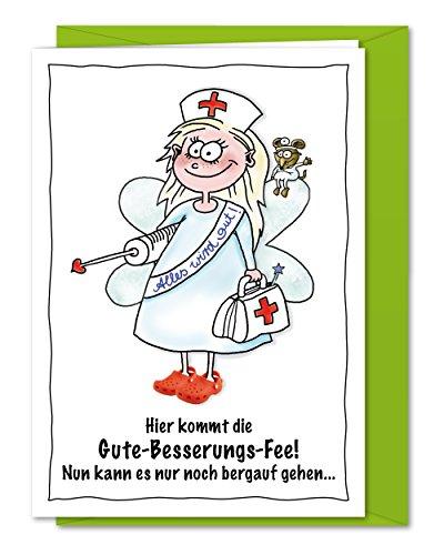 XL-Karte Die gute Besserungsfee - Süße Genesungskarte gegen alle kleinen Wehwehchen - inklusive...