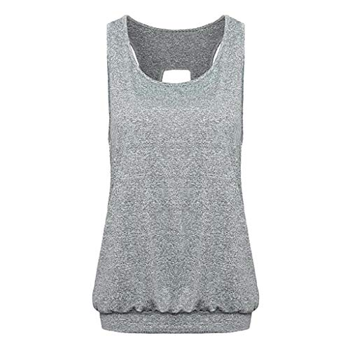 VECOLE Damenoberteile Damenweste mit offenem Rücken und rundem Halsausschnitt mit Rundhalsausschnitt Sportweste mit offenem Rücken und Lässiges Oberteil(rot,L) -