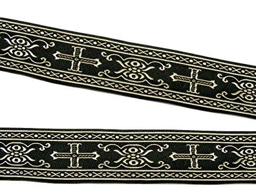 10m Kreuz Borte Webband 35mm breit Farbe: Schwarz-Gold von 1A-Kurzwaren SM05-swgo-35 (Borte Kreuz)