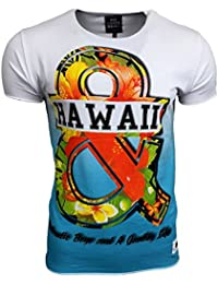 T-Shirt Kurzarm Herren Rundhals Longsleeve Motiv Basic Shirt RN-16748 AVRONI, Größe:M, Farbe:Weiß