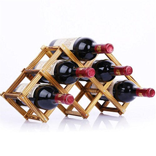 Madaye Massivholz kreativ Falten Weinregale robust langlebig 6 Flaschen Weinregale 46*12*23cm