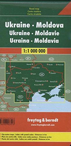Ucrania-Moldavia, mapa de carreteras. Escala 1:1.000.000. Freytag & Berndt.: Citypläne. Ortsregister mit Postleitzahlen… 1
