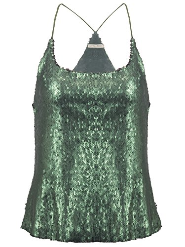 Anna-Kaci Femme Brillant Paillette Sparkly fines bretelles Camisole Spaghetti Vest Tank Top green