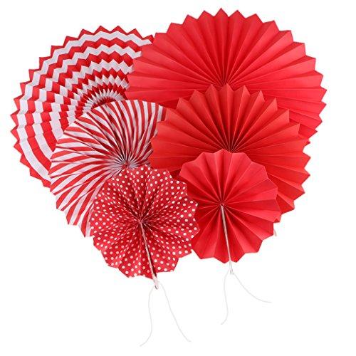 PETSOLA 6 Stü Seidenpapier Fan Hängende Papier Fan Pom Poms Party Hängende - Rot Streifen Rot Rosette