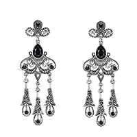 Women Ethnic Style Retro Alloy Resin Metal Pendant Drop Earrings