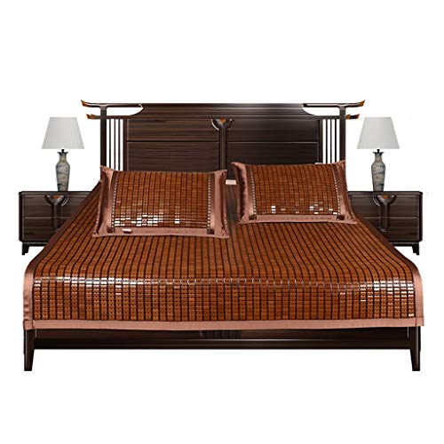 Viqie Sommerkühlung Schlafmatte Bambus Matratzenauflage rutschfeste Hartmetallmatte Faltbar Atmungsaktiv Komfortabel Haltbar Cool Pad Königin König Cold and Nice (Color : Brown, Size : 80 * 190cm) - Down-matratze Königin