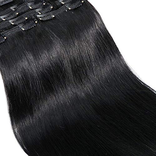 40cm extension clip capelli veri neri double weft lunga 16