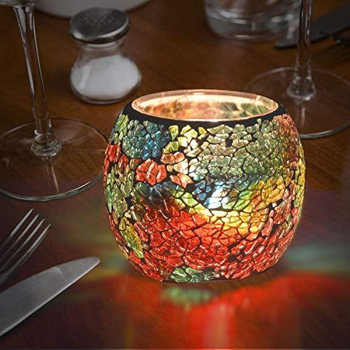 Miseegan Glas-Kerzenhalter, Schale, Mosaik-Teelichthalter, romantischer Lampenschirm, Topfpflanzen, Schüssel für Hochzeiten, Geburtstag, Partys und Heimdekoration