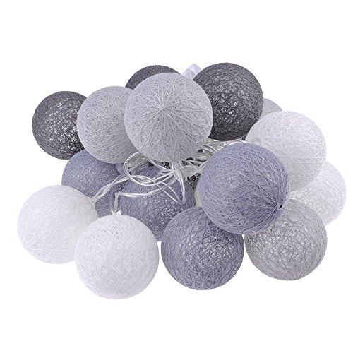 ECOSWAY-Baumwoll-Lichterkette, batteriebetrieben, 20 LEDs, Baumwollkugel-Lichterkette, LED-Lichterkette, für Zuhause, Party, Hochzeit, Dekoration, für Innen- und Außenbereich. #4