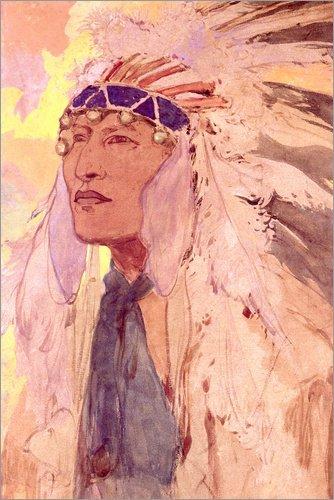Poster 20 x 30 cm: Der Indianer von Alfons Mucha/Bridgeman Images - hochwertiger Kunstdruck, ()