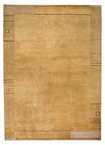 Morgenland Nepal Teppich JAIPUR 160 x 90 cm Gold Einfarbig Bordüre Modern Orient Teppich...