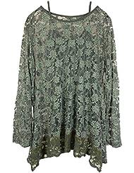 Damen Shirt Bluse in Langarm aus Spitze mit separatem Top, Two-in-One, locker geschnitten, MADE IN ITALY