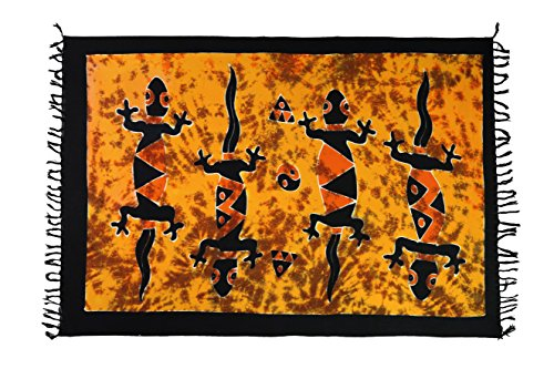 35 Modelle Sarong Pareo Wickelrock Strandtuch Tuch Wickeltuch Handtuch Original EL-Vertriebs GmbH Ciffe Tücher inklusive Schnalle Schließe aus Kokosnuss Wk2 Gecko Orange-Feuer C-G1