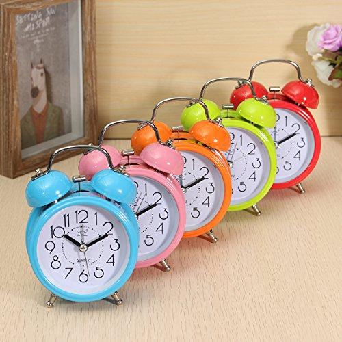 KING DO WAY Klassik Wecker Clock mit Nacht Licht Lernwecker Alarm Doppel Glocken Retro Tischuhr Gruen