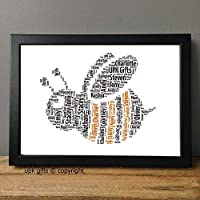 UPK Gifts Personalised Bee Word Art Print with Frame Birthday Mum Nan Friend Daughter Best Friend Girlfriend Teacher Gran Valentines Day Mothers Day