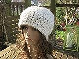 Häkelmütze Mütze Lydia in wollweiß mit Alpaka
