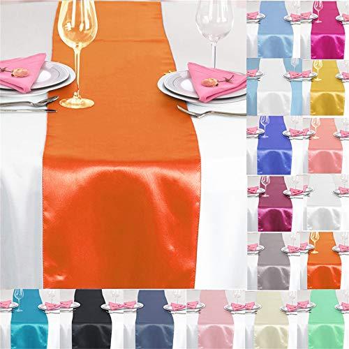 TtS 10 Stück 30x275cm Satin Tischläufer Tischwäsche Tischband Tischdecke Hochzeit Bankett Dekoration Party (Burnt Orange)