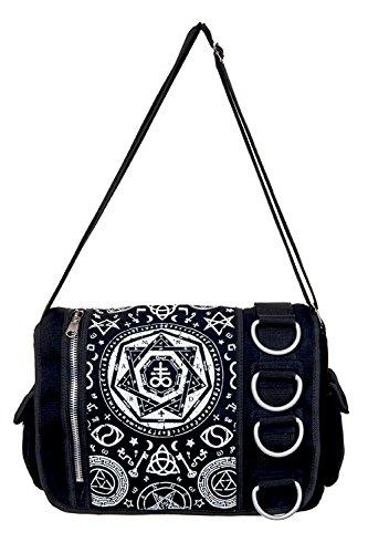 Gebannt Pentagramm Schwarz Messenger Bag - Black / One Size (Pinup Messenger Bag)
