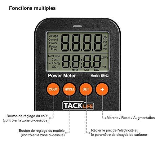 Tacklife Advanced EM03 Medidor de Consumo de energía/Medidor de Potencia de salida/100- 260V AC/16A 3680W MAX/Calcular Gastos de Consumo electrico