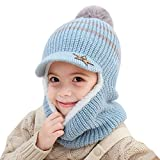 YONKINY Kinder Wintermütze Jungen Mädchen Warm Niedlich Strickmütze Schalmütze Schlupfmütze Beanie Mütze mit Fleecefutter