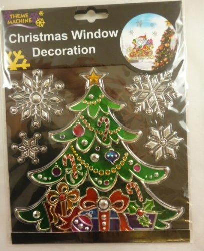 Weihnachtsfenster -Dekoration-Aufkleber / Suncatcher - Baum mit Schneeflocke ( DP116 ) (Suncatcher Schneeflocke)