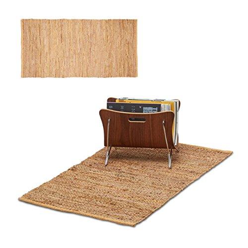 2x Läufer Leder im Set, Teppichläufer 60x90 cm, Dielenläufer Echtleder, Teppich handgefertigt, Flurteppich, hellbraun Gewebte Leder-teppich