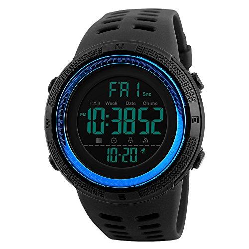 Amstt Unisex Outdoor Sportuhr Wasserdicht Uhr Digital Analoge Armbanduhren for Teenager Herren Damen Digitaluhr (Blau)