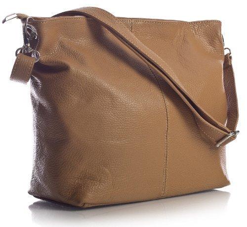 Tan Leder Hobo (Big Handbag Shop mittelgroße Damen Schultertasche aus echtem italienischem Leder (MA_506 Light Tan))