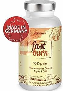 Nurigreen Fast Burn – 100% Pflanzlich – Hochdosiert – Hergestellt in Deutschland – 90 Kapseln Monatskur