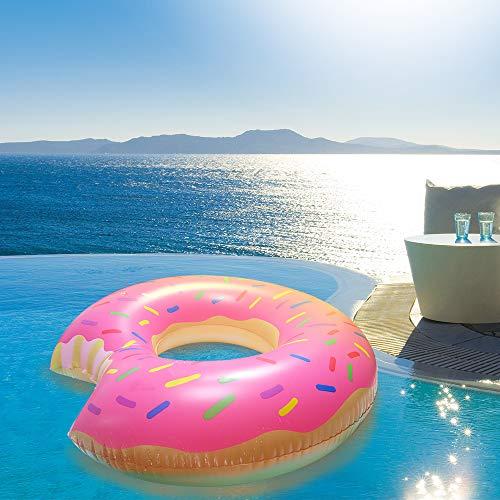 Aufun Aufblasbar Schwimmmatratze Donut Ø 120cm PVC Luftmatratze Aufblasbarer Pool-Lounger Sommer Party Schwimmring Schwimmgerät für Erwachsene & Kinder Innendurchmesser 40cm (Donut)