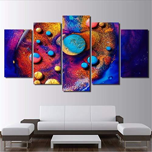 Fyyanm decor living room canvas print modern home 5 pezzi colori astratti dipinto colorato immagini modulari poster wall art quadro-20x35cmx220x45cmx220x55cm