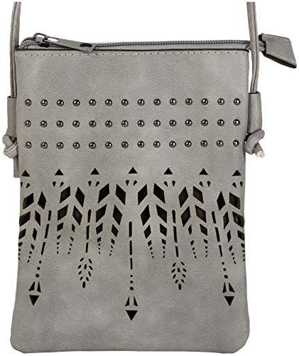 styleBREAKER Damen Mini Bag Umhängetasche Ethno Style und Nieten, Schultertasche, Handtasche, Tasche, 02012260, Farbe:Grau